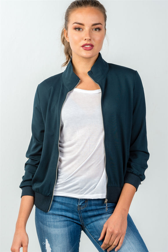 Ladies fashion forest green one striped sleeve track zip-up jacket