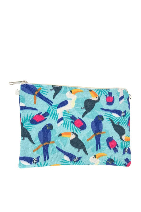 Ladies fashion mix bird print clutch bag