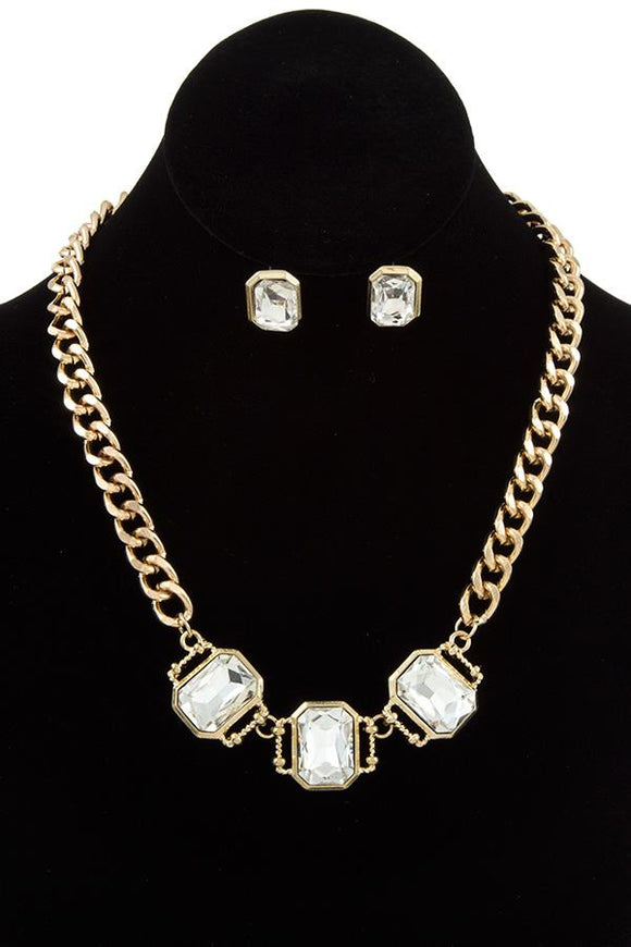 Ladies fashion faceted link gem chain necklace set - Presidential Brand (R)