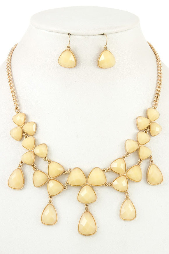 Ladies fashion faceted link bib necklace set - Presidential Brand (R)