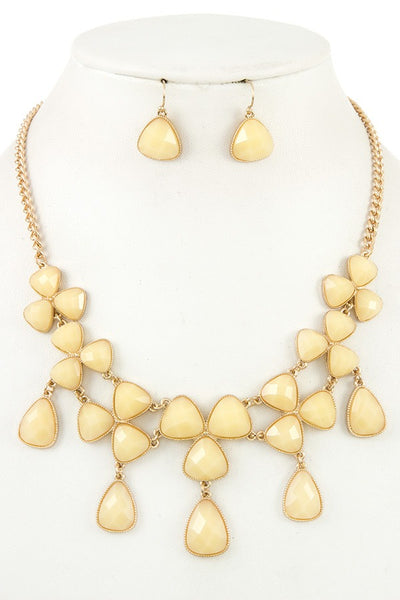 Ladies fashion faceted link bib necklace set