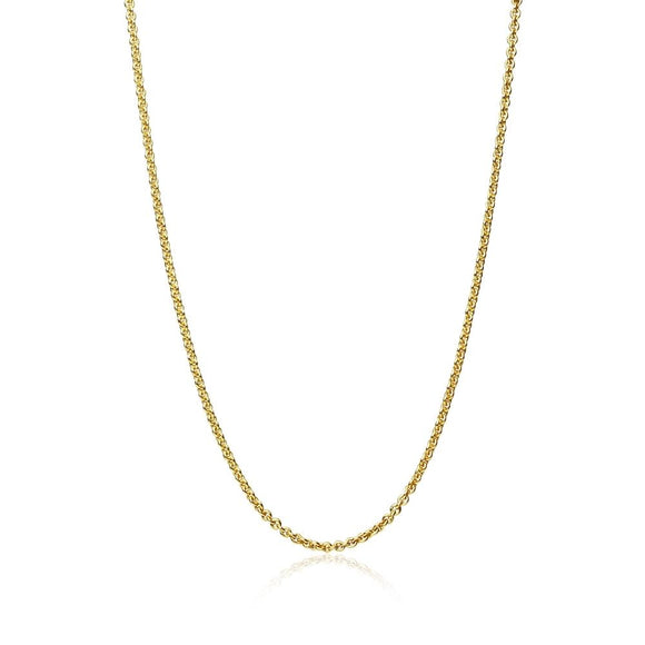 Yellow Gold Flashed Sterling Silver 1mm Thin Cable Rolo Chain Necklace, 20 Inches - Presidential Brand (R)
