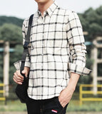 Mens Long Sleeve Checkered Cotton Shirt - Presidential Brand (R)