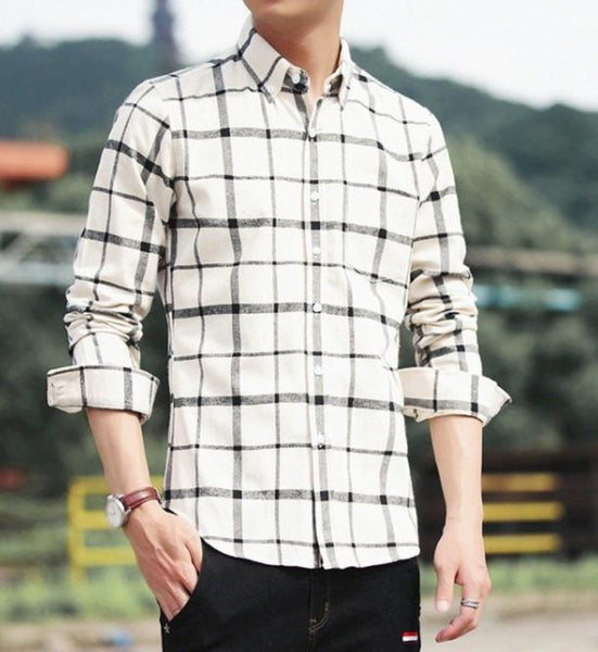 Mens Long Sleeve Checkered Cotton Shirt in Beige