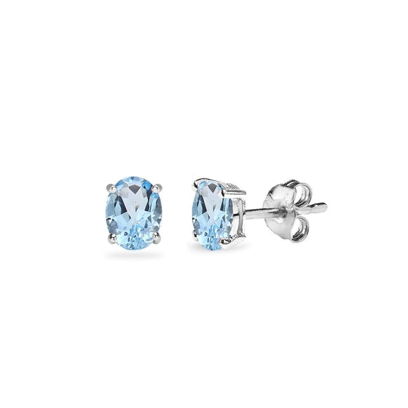 Sterling Silver Blue Topaz 5x3mm Oval-Cut Solitaire Stud Earrings - Presidential Brand (R)