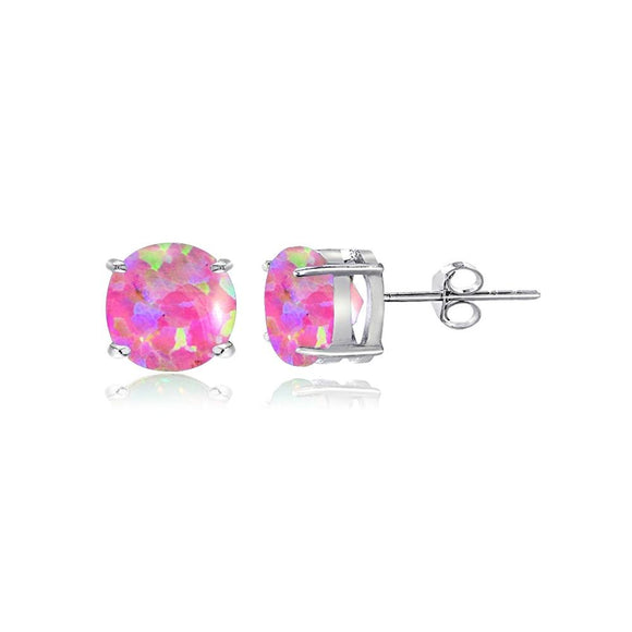 Sterling Silver Simulated Pink Opal 5mm Round-Cut Solitaire Stud Earrings - Presidential Brand (R)