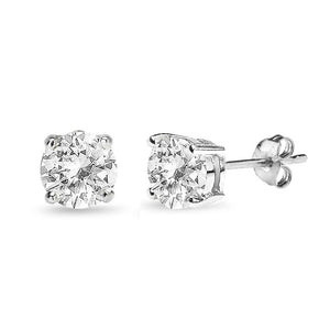 Sterling Silver White Topaz 7mm Round-Cut Solitaire Stud Earrings - Presidential Brand (R)