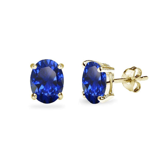 Yellow Gold Flashed Sterling Silver Created Blue Sapphire 7x5mm Oval-Cut Solitaire Stud Earrings