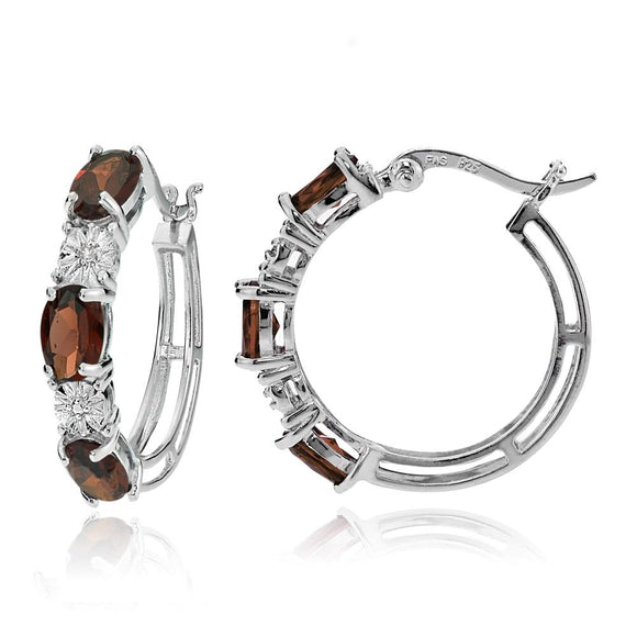 Sterling Silver Oval African Garnet and Diamond Accent Hoop Earrings