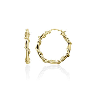 Yellow Gold Flashed Sterling Silver Chain Wrap Click-Top Hoop Earrings, 25mm - Presidential Brand (R)