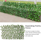 Retractable Artificial Garden Fence Wood Vines Climbing Frame Gardening Plant Fence Vegetable Plant Decor Greenery Walls 40a - Presidential Brand (R)