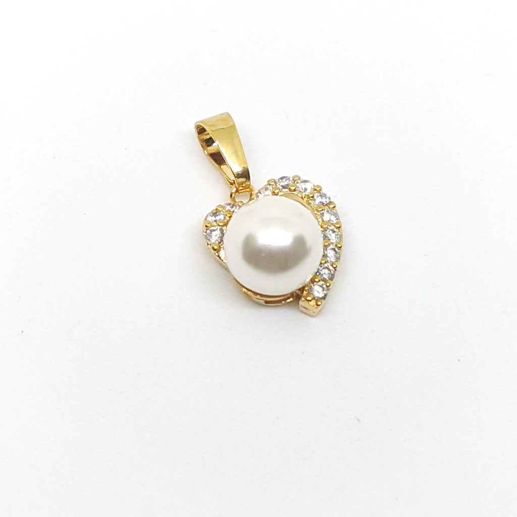 1-2462-h1 Gold Overlay Heart and Colored Pearl with CZ Accent Pendant.