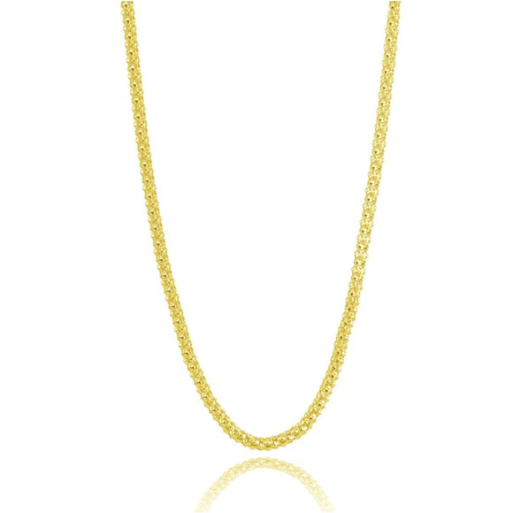Yellow Gold Flashed Sterling Silver 1.5mm Popcorn Chain Necklace, 24 Inches - Presidential Brand (R)