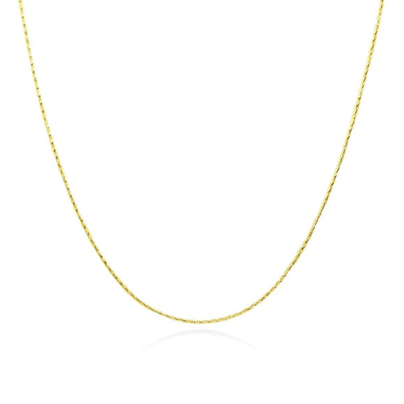 Yellow Gold Flashed Sterling Silver Italian .75mm Diamond-Cut Snake Chain Necklace, 16 Inches - Presidential Brand (R)