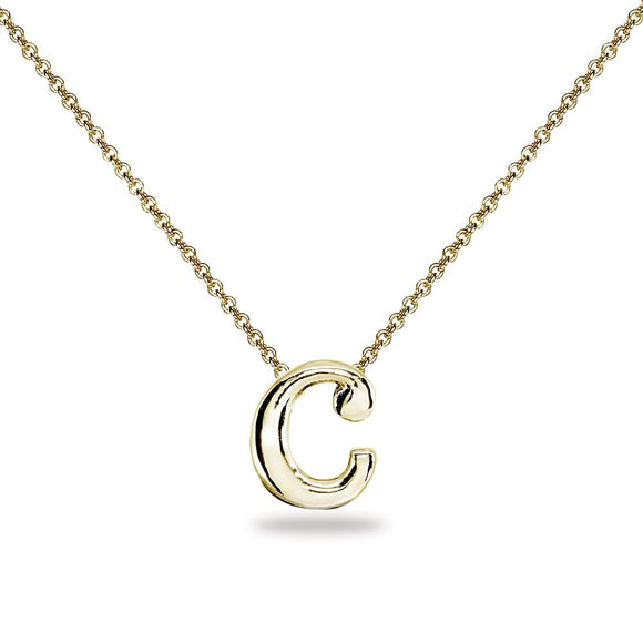"Yellow Gold Flashed Sterling Silver C Letter Initial Alphabet Name Personalized 925 Silver Necklace, 15"" + Extender - Presidential Brand (R)"