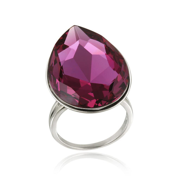 Swarovski Elements Fuchsia Teardrop Fashion Ring - Presidential Brand (R)