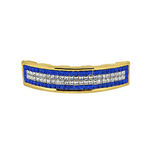 Invisible Setting Custom Blue Gold Grillz - Presidential Brand (R)