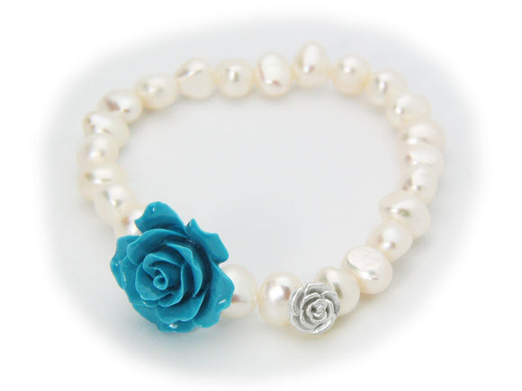 Powder Blue Ceramic Rose Fresh Water Pearl Stretch Bracelet in Sterling Silver - Presidential Brand (R)