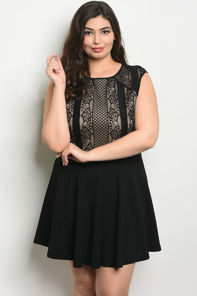 Women's Plus Size Black Tan Sleeveless Round Neckline Lace Detail Skater Dress(6 pcs/ Bundle)