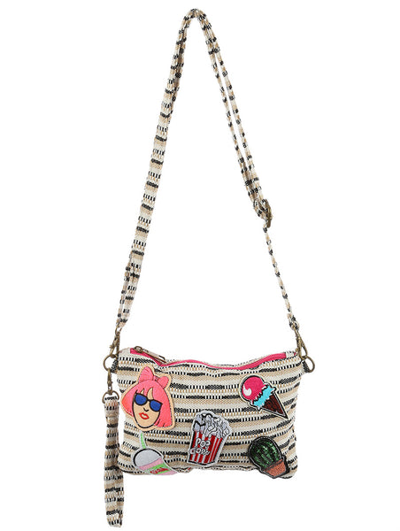 PATCHED WOVEN FABRIC PURSE