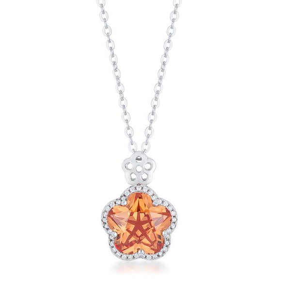Beautiful Floral Cut Champagne CZ Pendant - Presidential Brand (R)