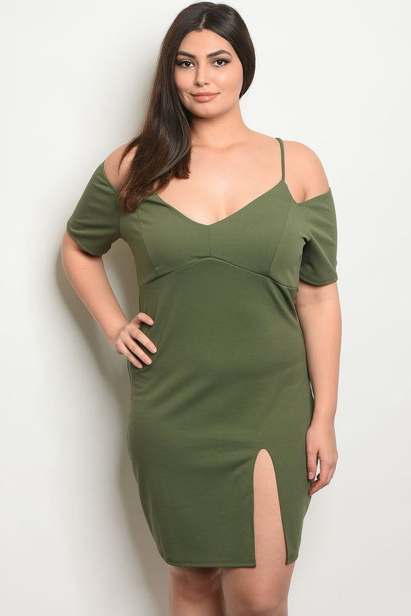 Women's Plus Size Olive Fitted Dress With V-Neck Short Sleeve Cold Shoulder Dress with Font Slit(6 pcs/ Bundle)
