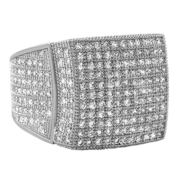 11 Row Rhodium CZ Ring