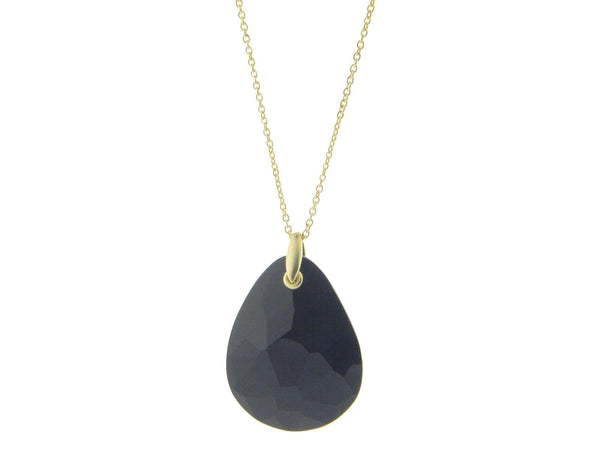 "Sterling Silver Vermeil  1.5"" Pear Shape Black Faceted Crystal Pendant 24"" Chain"
