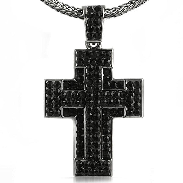 Thick Black Cross  Chain Small