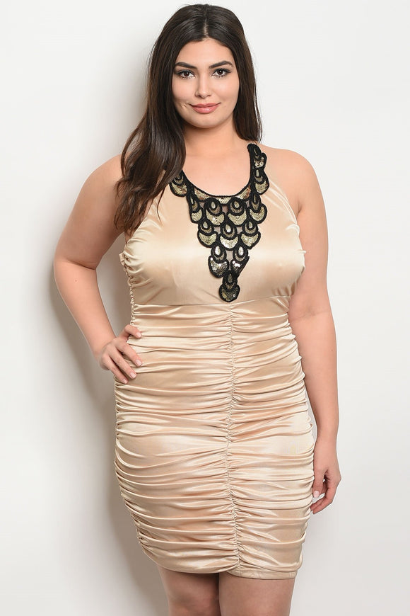 Women's Plus Size Nude Black Sleeveless Bodycon Ruched Detail Infront Embelished Detail on Center Front(6 pcs/ Bundle)