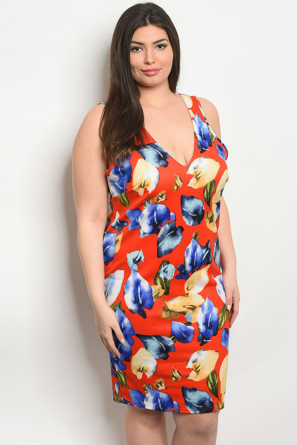 Women's Plus Size Red Floral Sleeveless Floral Print Fitted Bodycon Dress With V-Neck Line Dress(6 pcs/ Bundle)