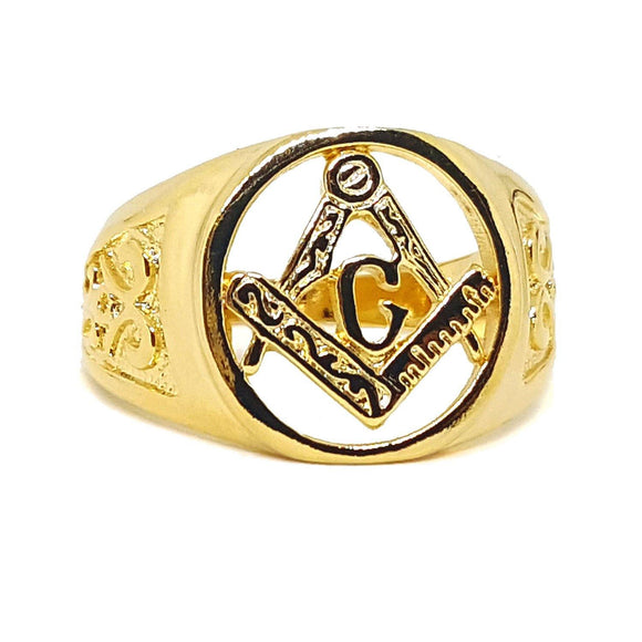 (1-3157-h5) Gold Overlay Masonic Ring for Men. - Presidential Brand (R)
