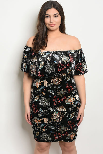 Women's Plus Size Black Floral Short Sleeve Off The Shoulder Ruffled Velvet Dress(6 pcs/ Bundle)