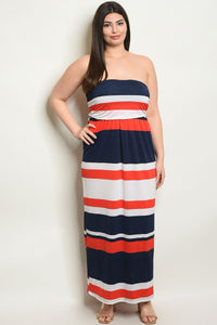 Women's Plus Size Navy Orange Sleeveless tube Striped Jersey Maxi Dress(6 pcs/ Bundle) - Presidential Brand (R)