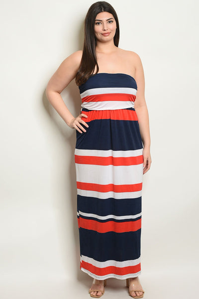 Women's Plus Size Navy Orange Sleeveless tube top Striped Jersey Maxi Dress(6 pcs/ Bundle)