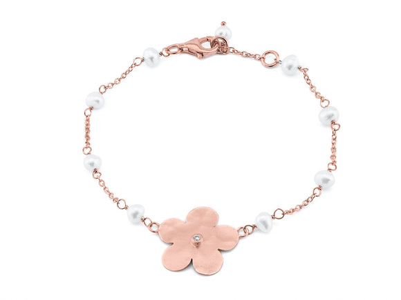 Fronay Co .925 Sterling Silver Hammered Flower and Freshwater Cultured Pearls Bracelet dipped in Rose Gold, 6.5