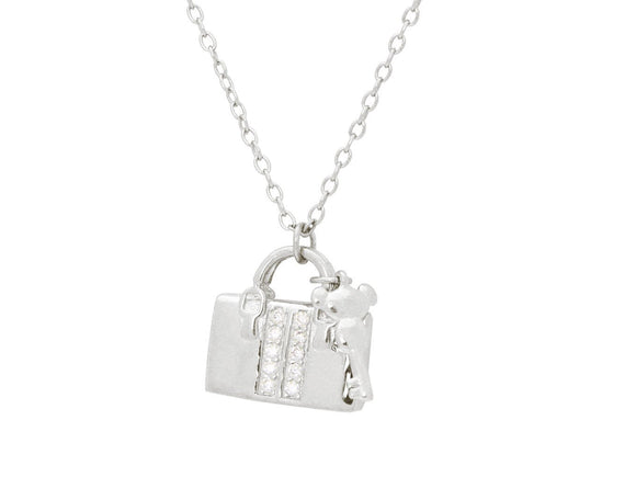 Teen Sparkling Cz Purse & Key Pendant Necklace in Sterling Silver, 16