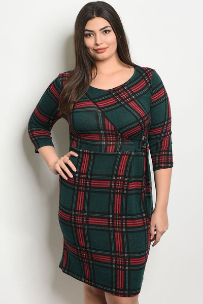 Women's Plus Size Green Red 3/4 Sleeve Scoop Neck Slub Knit Tunic Plaid Dress(6 pcs/ Bundle)