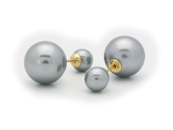 Double Sided Faux Grey Pearl Tribal Earrings | 925 Sterling Silver - Presidential Brand (R)