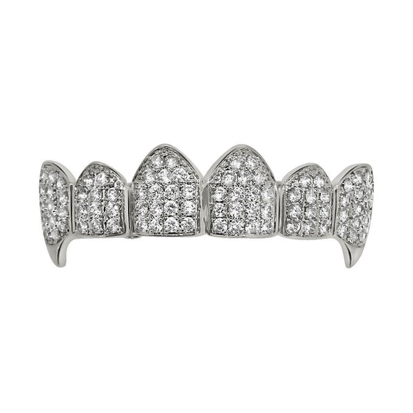 Vampire Grillz Bling CZ Silver Top Teeth