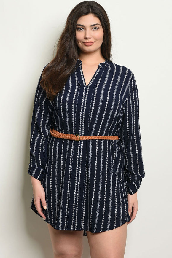 Women's Plus Size Navy Ivory Long Sleeve Striped Belted Tunic Shirt Dress(6 pcs/ Bundle)