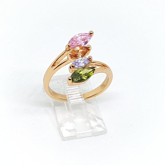 1-3107-h2 Gold Plated Multicolor CZ Ring. - Presidential Brand (R)