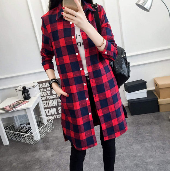 Womens Mid Length Plaid Shirt With Pockets - Presidential Brand (R)