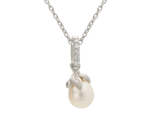 Sterling Silver Rice Pearl Flower Pendant Necklace, 16