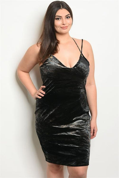 Women's Plus Size Black Brown Velvet Bodycon Dress With V-Neckline(6 pcs/ Bundle)