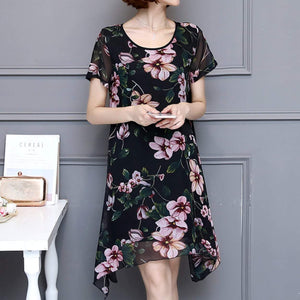 Women Uneven Short Sleeve Floral Dress - Presidential Brand (R)
