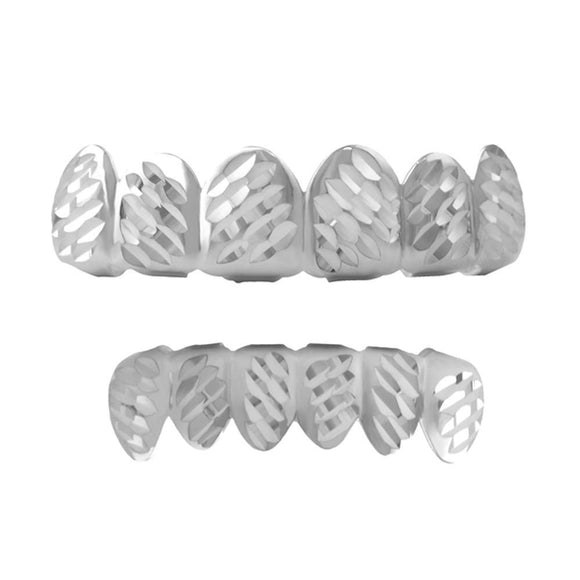 Grillz Diagonal Diamond Cut Rhodium Set - Presidential Brand (R)