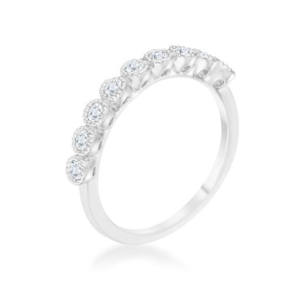 Geometric Bea 0.27ct CZ Rhodium Delicate Ring - Presidential Brand (R)