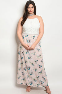 Women's Plus Size White Pink Teal Sleeveless Round Neck Floral Print Maxi Dress(6 pcs/ Bundle) - Presidential Brand (R)