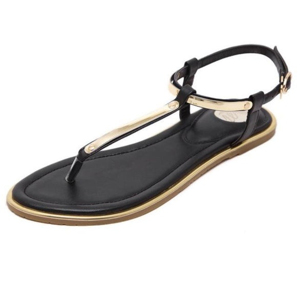 Womens Summer Black Flip Flops Faux Leather Sandals